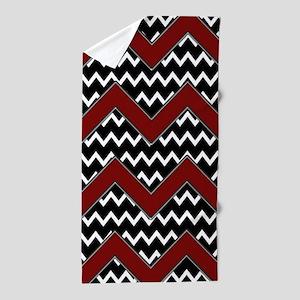 Black White Red Chevron Beach Towel