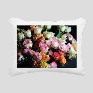 Mini tea Rose Bouquet Rectangular Canvas Pillow