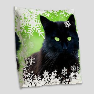 BLACK CAT & SNOWFLAKES Burlap Throw Pillow
