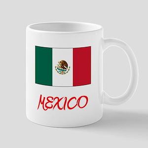 Mexico Flag Artistic Red Design Mugs