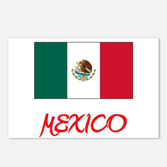Mexico Flag Artistic Red Postcards (Package of 8)