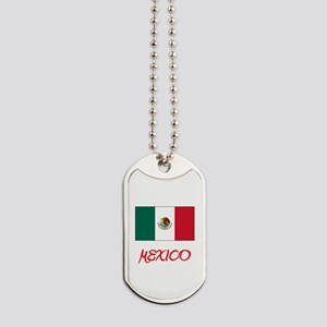 Mexico Flag Artistic Red Design Dog Tags