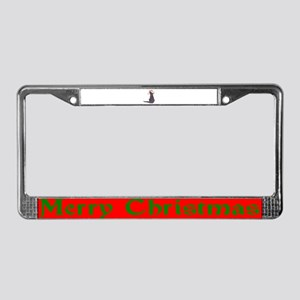 Christmas Cat With Hat License Plate Frame