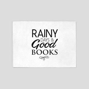 Rainy days and good books 5'x7'Area Rug