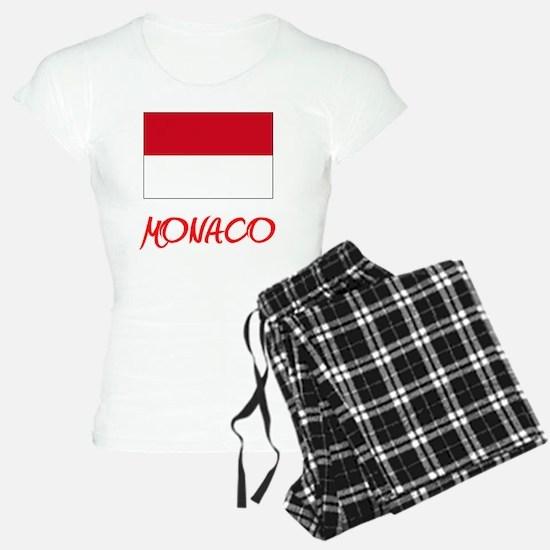 Monaco Flag Artistic Red Design Pajamas