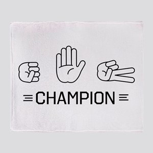 rock paper scissors champion. Throw Blanket
