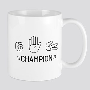 rock paper scissors champion. Mugs
