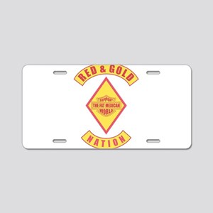 Red and gold support Mexican Aluminum License Plat