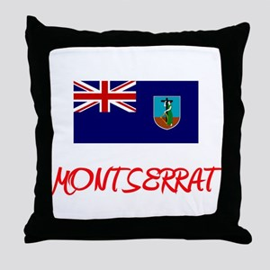 Montserrat Flag Artistic Red Design Throw Pillow