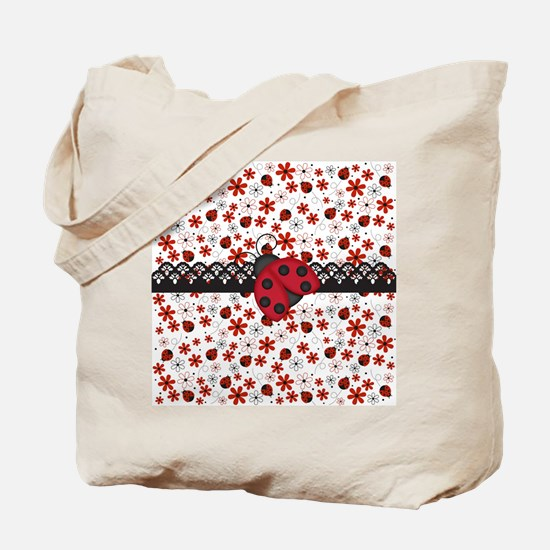 Charming Ladybugs and Red Flowers Tote Bag