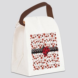 Charming Ladybugs and Red Flowers Canvas Lunch Bag