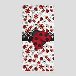 Charming Ladybugs and Red Flowers Beach Towel