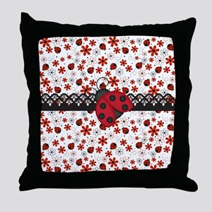Charming Ladybugs and Red Flowers Throw Pillow