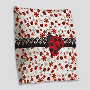 Charming Ladybugs and Red Flowers Burlap Throw Pil