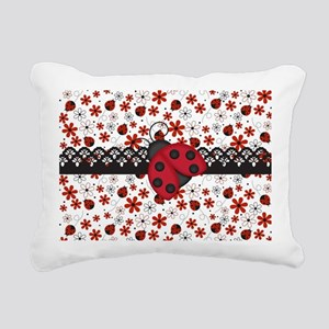 Charming Ladybugs and Red Flowers Rectangular Canv