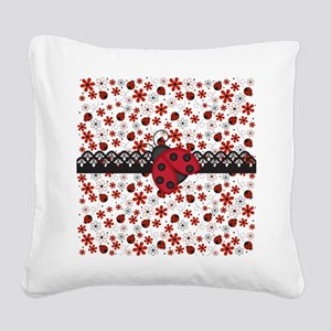 Charming Ladybugs and Red Flowers Square Canvas Pi