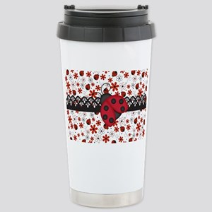 Charming Ladybugs and Red Flowers Travel Mug