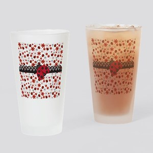 Charming Ladybugs and Red Flowers Drinking Glass