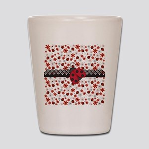 Charming Ladybugs and Red Flowers Shot Glass