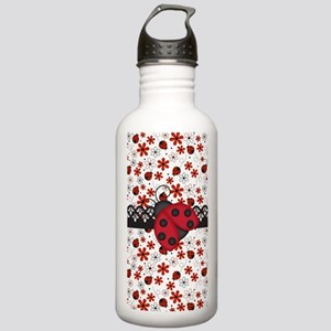 Charming Ladybugs and Red Flowers Water Bottle