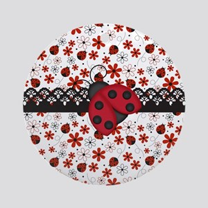 Charming Ladybugs and Red Flowers Ornament (Round)