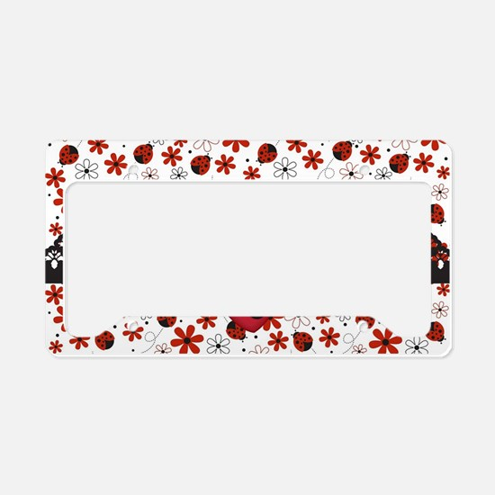 Charming Ladybugs and Red Flowers License Plate Ho