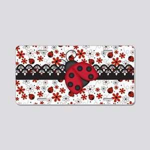 Charming Ladybugs and Red Flowers Aluminum License