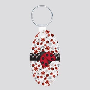 Charming Ladybugs and Red Flowers Keychains