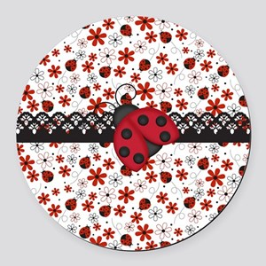 Charming Ladybugs and Red Flowers Round Car Magnet