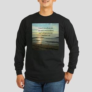 MATTHEW 11:28 Long Sleeve Dark T-Shirt