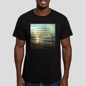 MATTHEW 11:28 Men's Fitted T-Shirt (dark)