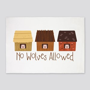 No Wolves Allowed 5'x7'Area Rug