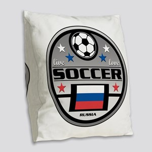Live Love Soccer Russia Burlap Throw Pillow