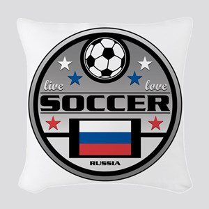 Live Love Soccer Russia Woven Throw Pillow