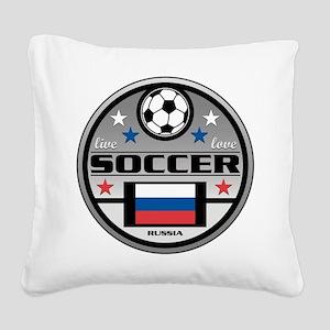 Live Love Soccer Russia Square Canvas Pillow