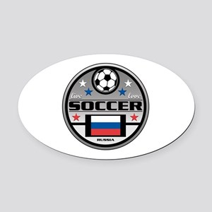 Live Love Soccer Russia Oval Car Magnet