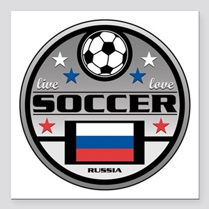 "Live Love Soccer Russia Square Car Magnet 3"" x 3"""