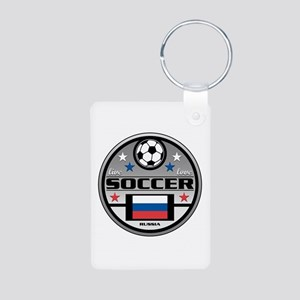 Live Love Soccer Russia Aluminum Photo Keychain