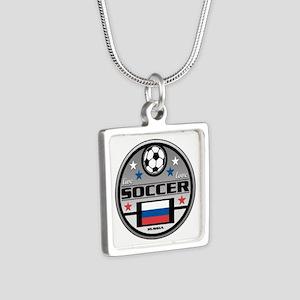 Live Love Soccer Russia Silver Square Necklace