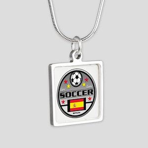 Live Love Soccer Spain Silver Square Necklace