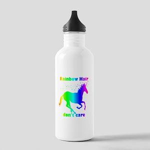 Rainbow Hair Don't Care Fun Unicorn Quote Water Bo