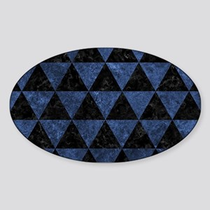 TRIANGLE3 BLACK MARBLE & BLUE STONE Sticker (Oval)