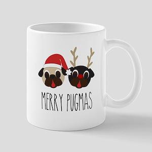 Merry Pugmas Christmas Pug Santa & Reindeer Mugs
