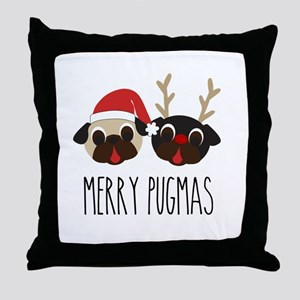 Merry Pugmas Christmas Pug Santa & Reindeer Throw