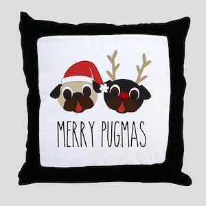Merry Pugmas Christmas Pug Santa & Reindeer Throw