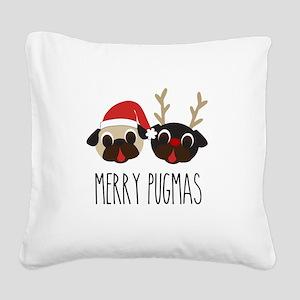 Merry Pugmas Christmas Pug Santa & Reindeer Square