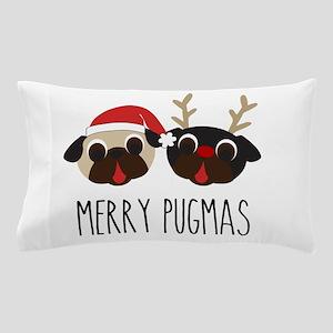 Merry Pugmas Christmas Pug Santa & Reindeer Pillow