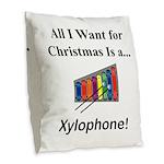 Christmas Xylophone Burlap Throw Pillow