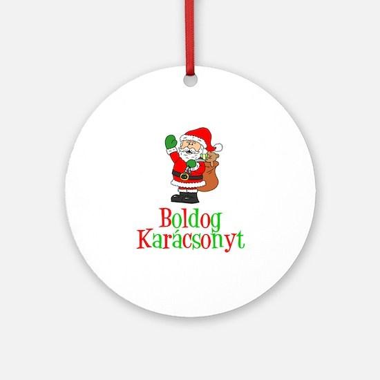 Boldog Karcsonyt Santa Ornament (round)