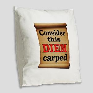 CARPE DIEM Burlap Throw Pillow